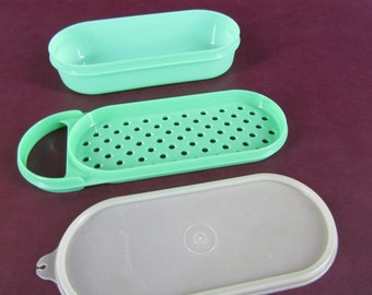 CLEARANCE lot of 2 vintage kitchen plastic containers Tupperware grater Velveeta storage
