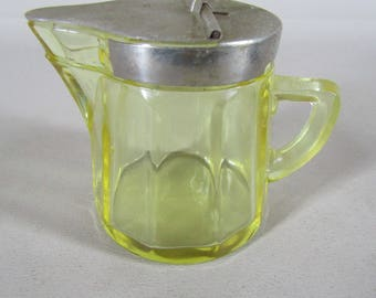 Yellow pressed glass vintage sryup pitcher