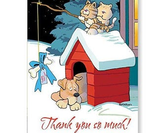 Cute Cat & Dog Thank You Boxed Note Card - 18 note cards and envelopes - 14227