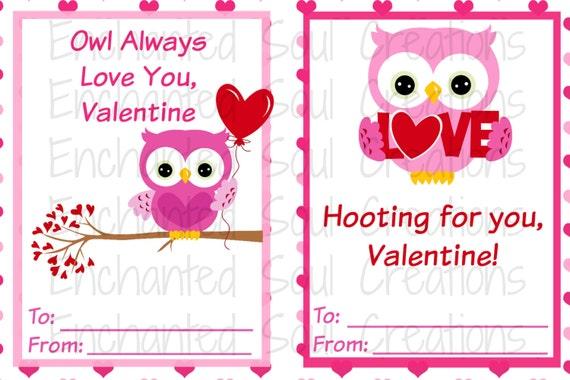 Owl Printable Valentines INSTANT DOWNLOAD Valentine