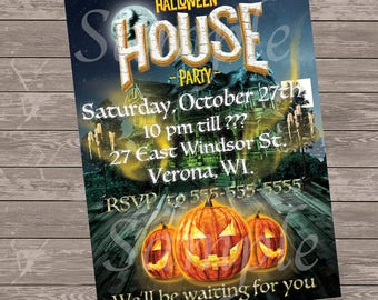 Haunted House Halloween Invitation / Haunted House / Eerie Pumpkins / Halloween Party / 5 x 7 or 4 x 6- I insert info-You print-digital file