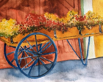 Original Watercolor Painting, Flower Cart, Floral Art, Bedroom Decor,  Office Wall Art Gift for Mother Anniversary Couples Gift Housewarming
