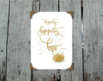 Bippity boppity boo - inspired by Cinderella - Gold Foil Effect on Text with pink, blue and mint featuring a pumpkin - Printable Artwork
