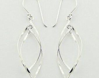 Sterling Silver Twisted Open Leaf Earrings
