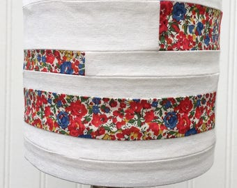 HANDMADE LIBERTY of London Drum LAMPSHADE Lamp Shade Handsewn 6 inch diameter x 5 inch tall English Flower Garden Cottage Light Shade Red