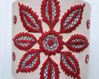 Scandinavian Inspired HANDMADE Vintage EMBROIDERED Tablecloth Drum LAMPSHADE 12 inch diameter 10 inches tall Lamp Shade Red Blue Off White