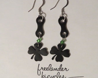 Recycled Bicycle Earrings: Clover
