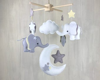 Baby mobile - elephant mobile - moon mobile - star mobile - cloud mobile - elephant nursery