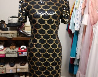Laurence Kazar Dress Black Gold Size M Scallop Women's Silk Formal Evening 1980s Vintage Retro New Years