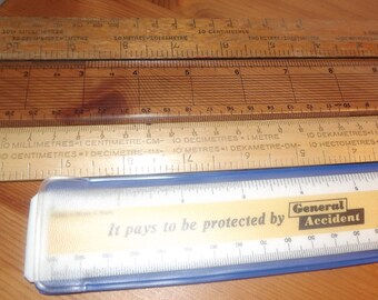 Mixed lot vintage wooden and plastic rulers