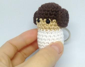 Handmade crochet princess Leia keychain - MADE TO ORDER -