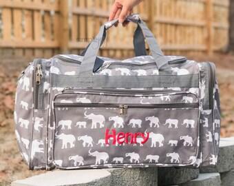Elephant DUFFLE Bag, Gray Duffle Bag, Women Duffle Bag, Gray Elephant Bag, Crimson Elephant Bag, Elephant Luggage, Elephant Weekender