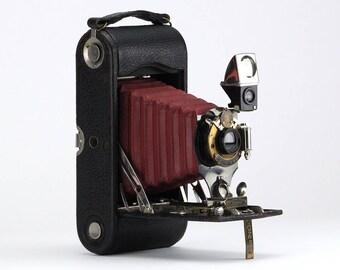 Antique 1908 Kodak Eastman Folding Pocket No.1A Special Camera w/ Red Bellows – Home Lighting Decor & Collector Piece