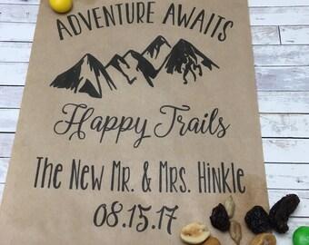 10 Personalized Adventure Awaits Wedding Kraft Favor Bag - Wedding Favor Bag - Trail Mix Treat Bag