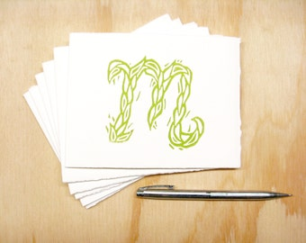 Letter M Stationery - READY TO SHIP - Personalized Gift - Set of 6 Block Printed Cards