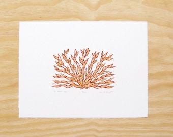 "Woodcut Print - ""To Calm You"" - Yoga Plant - Printmaking"
