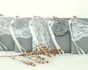 5 Personalized clutch /bridesmaid clutch grey clutch/linen purse/Bridesmaid Gift /wedding clutch