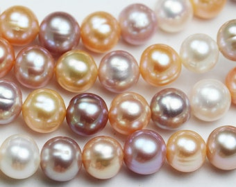 """10-11mm  Cultured Freshwater Pearl Strand, Mixed Natural Color, Lavender /Cream/Rose,16""""-PLF8119"""