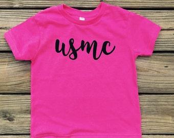 Girls USMC Tee [military daughter homecoming marine corps kid daddy is my hero]
