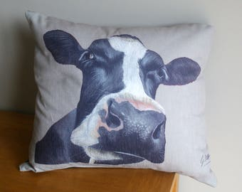 Friesian Dairy Cows Head Square Cushion By Artist Grace Scott