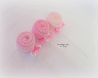 Washcloth Lollipop, Baby Washcloth, Baby Shower Decoration, Baby Shower Favors, Decorations, Baby Washcloths, Baby Shower, Favors