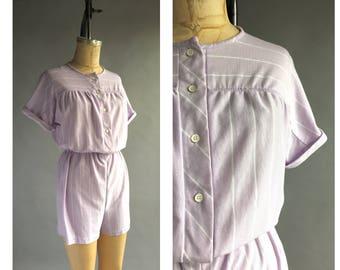 1980's Lavender Stripe Romper