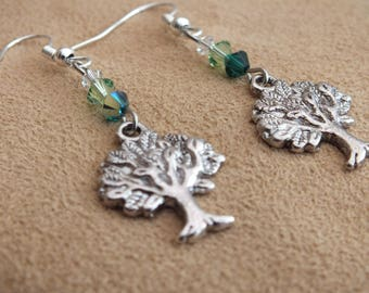 Tree earrings, green earrings, nature earrings, Swarovski earrings, silver earrings