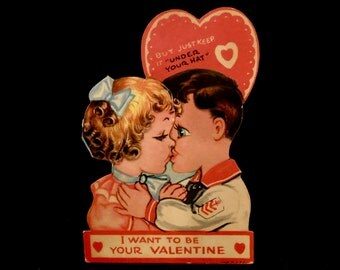 Antique Valentine's Day Card, Die Cut, Valentine, Sailor Boy Kissing Girl, Red Heart, Gold Gilded, Made in USA, Circa 1930s