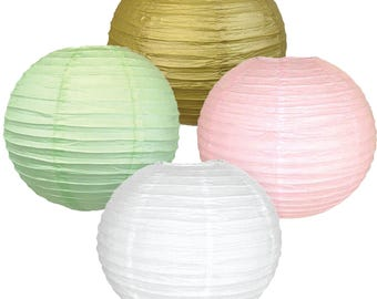 "Just Artifacts Assorted Chinese Paper Lanterns Set (8inch, Set of 4, Party Kit) – Includes (1) Gold, (1) Pale Pink, (1) Mint & (1) 8"" White"