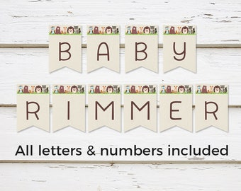 Printable Woodland Baby Shower Banner, Burlap Baby Animals, Customizable DIY Banner, All Letters and Numbers, Digital, Download, MB200