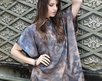 Silk tunic top - Grey and Brown caftan -Tie dyed boho caftan - Bohemian clothing