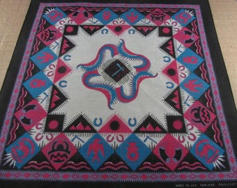 80s Bandana Handkerchief Southwestern Black Tribal Native Motifs USA