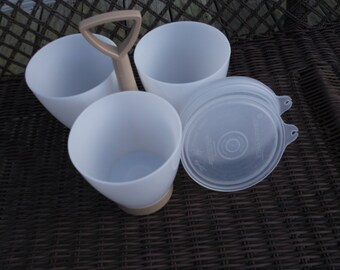 Vintage Tupperware Condiment Set 3 Cups with Holder