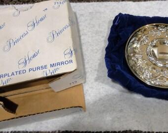 Vintage Princess House Silverplated Purse Mirror/Never Used
