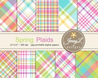 Spring Plaids Digital Papers, Summer Digital ScrapbookingPaper, Invitations, Planner, Checkered