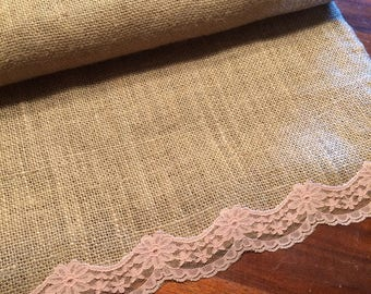 Set of 10 premium burlap table runner with lace accents.8ft long with serged edges. Vintage  lace. Country barn wedding theme