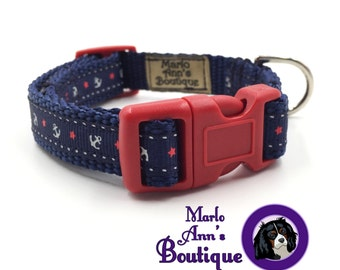 Puppy Collar / Dog Collar / XS / Extra Small / Nautical / Anchor / Navy / Blue / Red / Dog Leash / Adjustable / Dog Collar and Leash Set