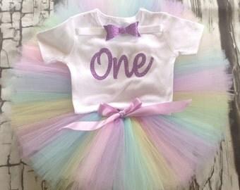 First birthday Rainbow tutu set, Rainbow tutu set, 1st birthday tutu set, pastel rainbow tutu set