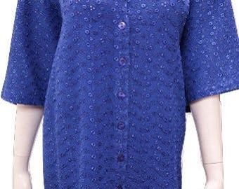 Plus size round neck cut work button down short sleeved tunic Blue 16 18 20 22 24