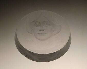 Czech Bohemian Emmy Destinn (Ema Destinnova) Art Glass Sculpture by J.Stursa
