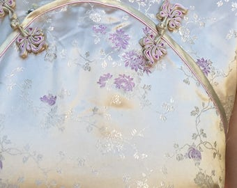 Vintage Gold and Lilac Chinese Oriental Silk Flower Embroidery