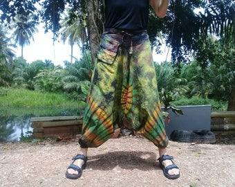 Mens Tie Dye Harem Pants Baggy Pants Ninja Pirate Drop Crotch Green Tan Mix