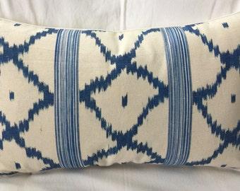Custom Vintage Schumacher Linen Lumbar Pillow. Free Down Feather Insert. Free Shipping.