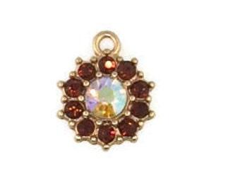 12mm Crystal Floral Pendant