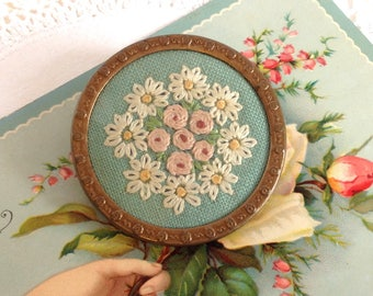 Beautiful Vintage Brooch With Hand-Embroidered Flowers Roses and Daisies Duck Egg Blue Copper 1930's