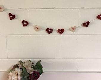 Heart garland/ felted wool heart garland
