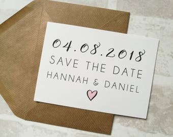 Simple Mono / Black and White Calligraphy Save The Dates