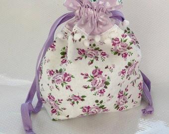 Old Romance Lilac Roses Drawstring Bag / Gift Bag / Floral / Pompoms / Hearts / Knitting Bag / Crochet Bag / Project Bag