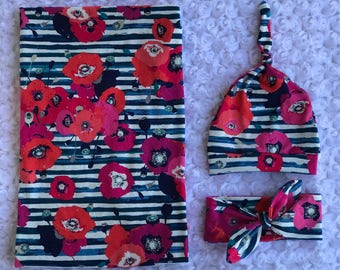 Striped Floral Swaddle Set, Swaddle Set, Baby Girl Gift, Top Knot Hat, Top Knot Headband