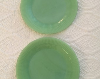 "Fire King Jadeite Salad Plates 7 3/4"" Two Plates"